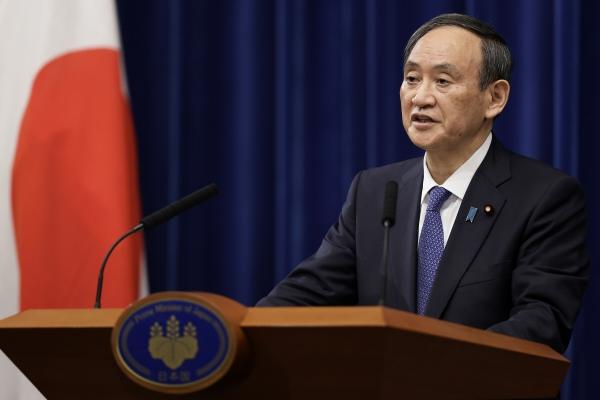 ▲스가 요시히데 일본 총리가 7일 도쿄 총리 관저에서 기자회견을 하고 있다. 도쿄/AP뉴시스
