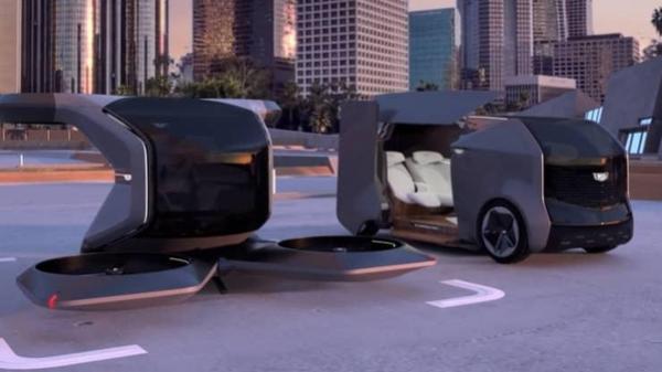 ▲GM의 VTOL 드론(왼쪽)과 자율주행 셔틀 헤일로 컨셉트(오른쪽)  (출처=GM CES EXHIBIT)