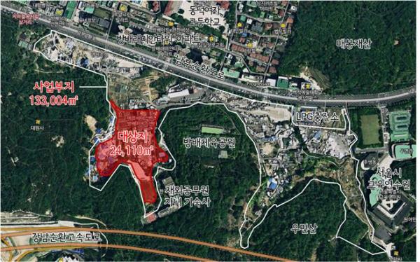 ▲서울 서초구 방배동 성뒤마을 공공주택지구 위치도 (출처=서울시)