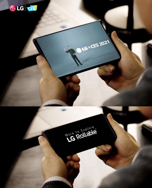 ▲LG전자의 차세대 전략 스마트폰 LG 롤러블(LG Rollable)이 미 동부시간 13일 오후(한국시간 14일 아침) CES 공식 어워드 파트너인 엔가젯(Engadget)이 시상하는 CES 2021 최고상(2021 Best of CES Awards)에서 최고 모바일 기기(Best Phone or Mobile Device)로 선정됐다. 사진은 CES 2021 개막 첫 날 진행된 LG전자 프레스 콘퍼런스에서 공개된 LG 롤러블의 모습. (사진제공=LG전자)