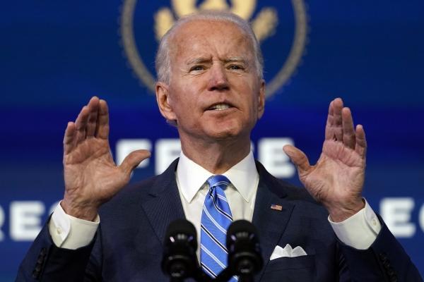 ▲조 바이든 미국 대통령 당선인이 14일(현지시간) 델라웨어주 윌밍턴에 있는 퀸 극장에서 연설하고 있다. 윌밍턴/AP뉴시스