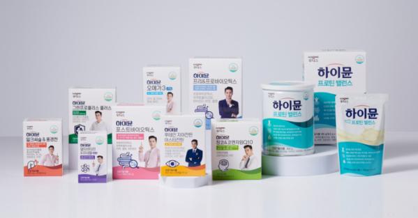 ▲일동후디스의 건강기능식품 통합 브랜드로 거듭난 '하이뮨' 제품군들 (사진=일동후디스)