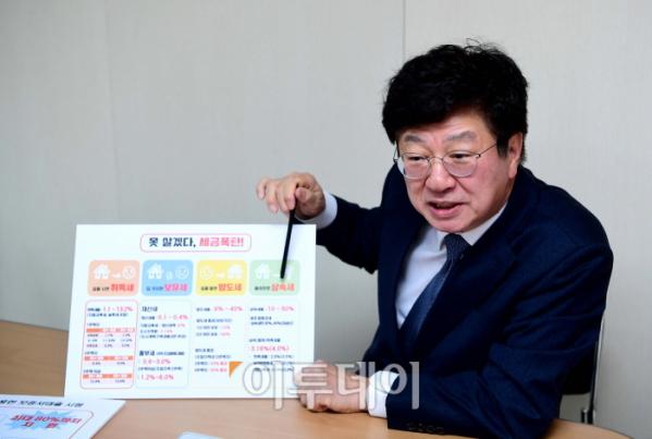 ▲서울시장 보궐선거 출마를 선언한 이종구 전 의원이 18일 서울 여의도에 마련된 사무실에서 이투데이와 인터뷰를 갖고 '부동산 세금 폭탄' 해결 방안에 대해 설명하고 있다. 신태현 기자 holjjak@