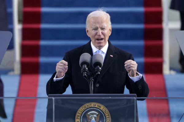 ▲조 바이든 대통령은 20일(현지시간) 워싱턴DC 의회 의사당에서 열린 취임식 연설을 하고 있다.  (워싱턴D.C/AP뉴시스)