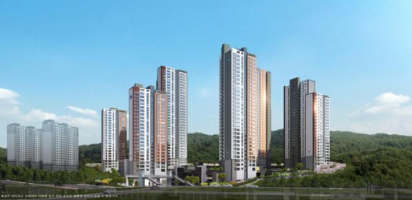 ▲두산건설이 강원도 삼척시 정상동에서 분양하는 '삼척 센트럴 두산위브' 아파트 투시도.