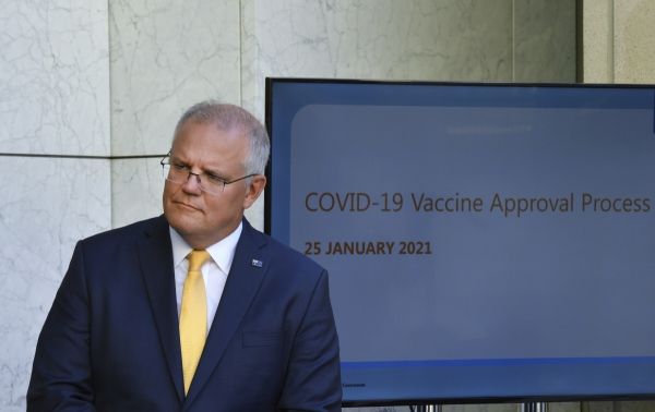 ▲스콧 모리슨 호주 총리가 25일 호주 의회에서 신종 코로나바이러스 감염증(코로나19) 백신 승인과 관련해 브리핑을 하고 있다. 캔버라/AP연합뉴스