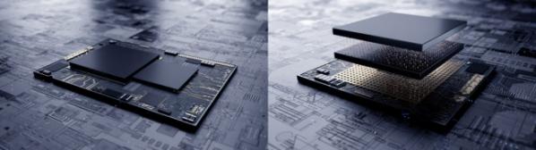 ▲삼성의 엑스큐브 기술을 나타낸 그림(오른쪽). 기존 EUV 공정으로 만든 반도체는 평면으로 칩을 배치했다면, 엑스큐브 기술은 7나노 다이(die)를 적층하는 방식이다.