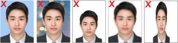 ▲온라인 여권 재발급 신청 접수에 부적합한 사진 예시. (출처=외교부)