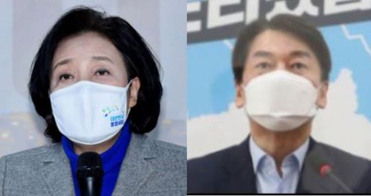 ▲(왼쪽부터) 박영선, 안철수 서울시장 후보