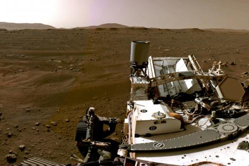 ▲미국 화성 탐사 로버 '퍼서비어런스'가 20일(현지시간) 찍은 화성 모습. 로이터연합뉴스