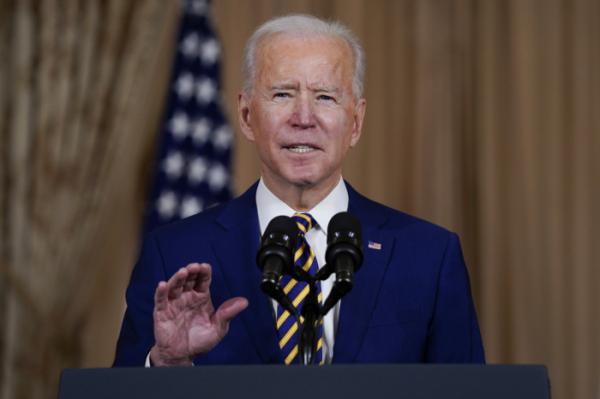 ▲조 바이든 미국 대통령이 4일(현지시간) 미국 국무부에서 연설을 하고 있다. 워싱턴D.C./AP뉴시스
