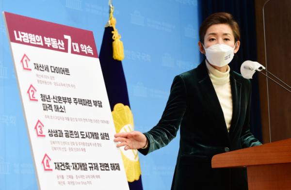 ▲부동산 공약 발표하는 나경원 후보. (연합뉴스)