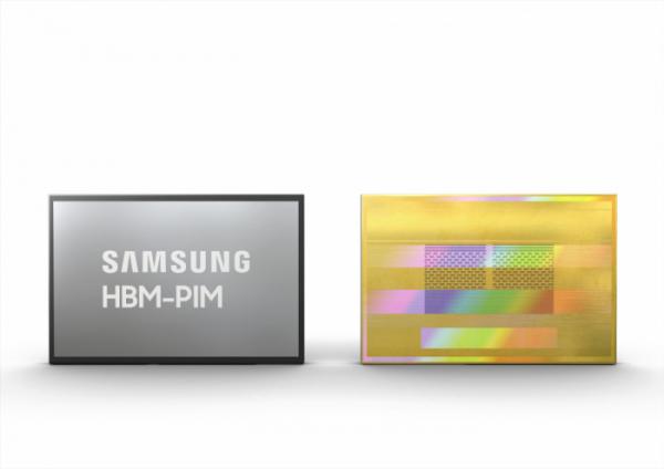 ▲삼성전자가 세계 최초로 AI 엔진을 메모리에 탑재한 HBM-PIM(Processing-in-Memory을 개발했다. AI 시스템에 HBM-IM을 탑재할 경우 기존 HBM2을 이용한 시스템 대비 성능은 2배 이상 높아지고 시스템 에너지는 약 70% 이상 감소된다. (사진제공=삼성전자)