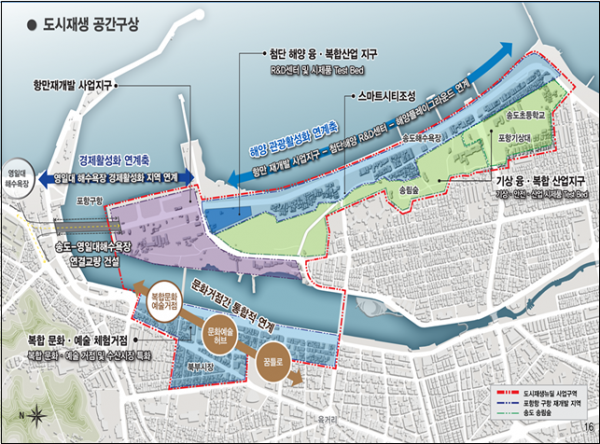▲경북 포항시 경제기반형 도시재생사업 위치도. (자료제공=국토부)
