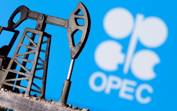 ▲3D 프린팅된 오일 펌프 잭이 석유수출국기구(OPEC) 로고 앞에 있다. 로이터연합뉴스