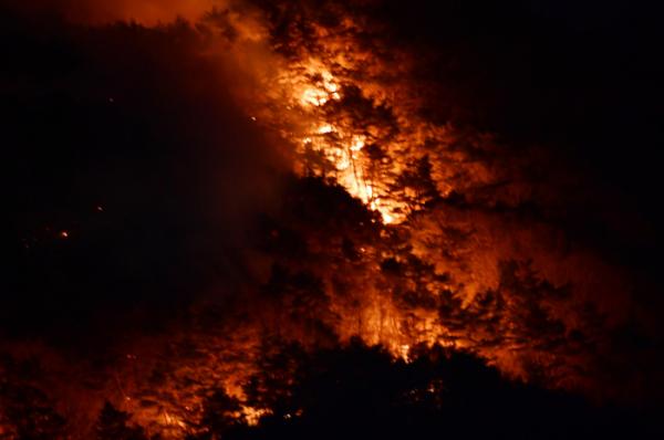▲21일 오후 경남 하동군 악양면 미점리 인근 구재봉 250m 고지에서 발생한 산불이 산등성이를 따라 번지고 있다.  (뉴시스)