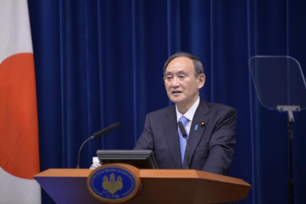 ▲스가 요시히데 일본 총리가 2일 도쿄에서 기자회견을 진행하고 있다. 도쿄/AP뉴시스