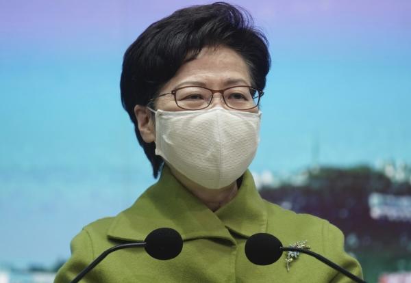 ▲ 캐리 람 홍콩 행정장관이 지난달 26일 정부 청사에서 주례 기자회견을 하고 있다. 홍콩/AP연합뉴스