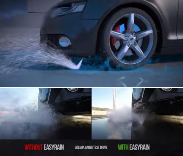 ▲고인물을 감지하면 바퀴 앞쪽에 순간적으로 고압 물분사를 작동, 물을 바깥으로 날리는 방식이다.  (출처=뉴스프레스UK)