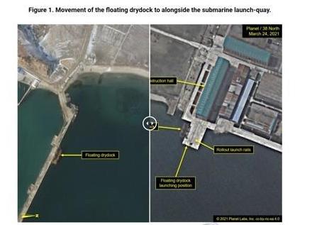 ▲27일 미국 북한전문매체 38노스가 북한 신포조선소의 플로팅독 위치가 이동한 장면(오른쪽이 이동 후 사진)을 담은 플래닛랩스(Planet Labs)의 위성사진을 공개했다. (연합뉴스)