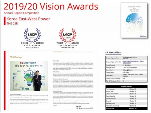 ▲한국동서발전은 미국 커뮤니케이션 연맹(LACP)에서 주관하는 '비전 어워드'의 '2020 지속가능경영보고서' 부문에서 금상(Gold Winner)을 수상했다. (자료제공=한국동서발전)