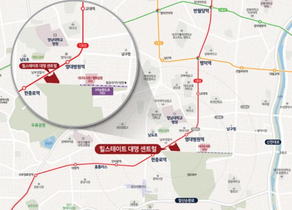 ▲대구 남구 '힐스테이트 대명 센트럴' 위치도  (자료제공=현대건설)