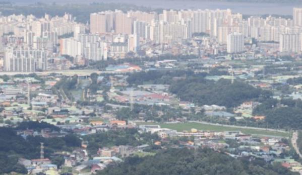 ▲경기 과천시와 하남시의 아파트 전셋값 하락세가 뚜렷해지고 있다. 3기 신도시로 지정된 하남교산 일대 (연합뉴스)