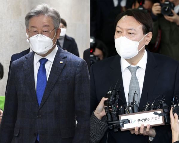 ▲이재명 경기지사(사진 왼쪽)와 윤석열 전 검찰총장 (뉴시스)