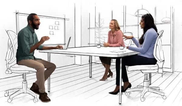 ▲마이크로소프트(MS) 직원들이 프로젝트 회의를 하고 있다. 출처 MS 블로그