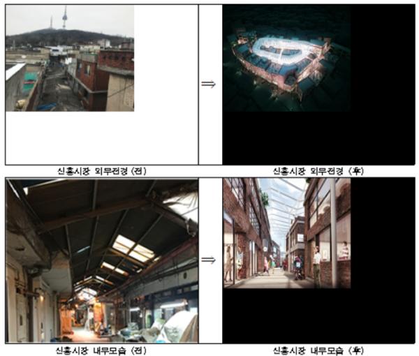 ▲서울 용산 해방촌 신흥시장 환경개선사업 시행 전·후. (사진제공=서울시)