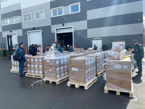 ▲러시아가 인도 지원을 보내는 의료 물품이 28일(현지시간) 모스크바 주코프스키 공항에 놓여 있다. 모스크바/로이터연합뉴스