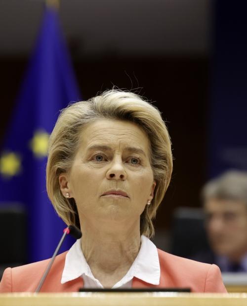 ▲우르줄라 폰데어라이엔 유럽연합(EU) 집행위원장이 26일(현지시간) 벨기에 브뤼셀 유럽 의회에서 발언하고 있다. 브뤼셀/AP연합뉴스