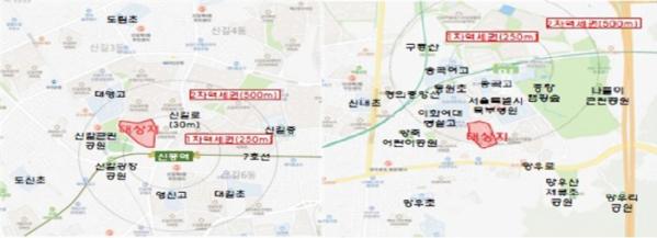 ▲공공재건축 후보지로 선정된 서울 영등포구 신길13구역(왼쪽)과 중랑구 망우1구역 위치도. (자료제공=국토교통부)