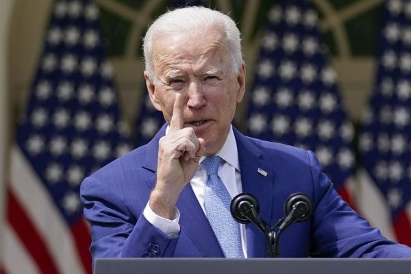 ▲ 조 바이든 미국 대통령이 8일(현지시간) 백악관 로즈가든에서 연설을 하고 있다. 워싱턴D.C./AP연합뉴스