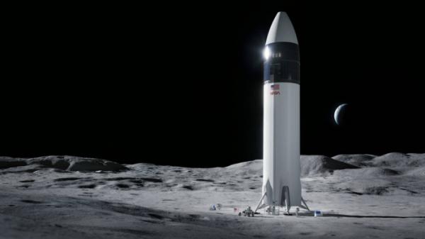▲스페이스X의 달 착륙선 스타십 상상도.  (출처=NASA)