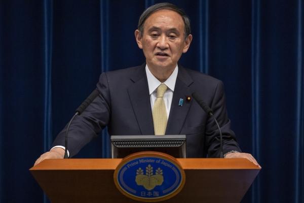▲스가 요시히데 일본 총리가 도쿄에서 열린 기자회견에 참석해 발언하고 있다. 도쿄/AP연합뉴스