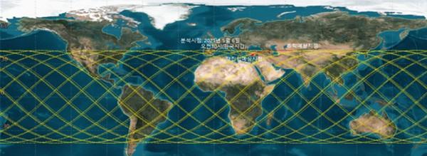 ▲추락 예측 궤도(분석시점 2021년 5월 6일 오전 10시, 한국시각). (사진제공=과학기술정보통신부)
