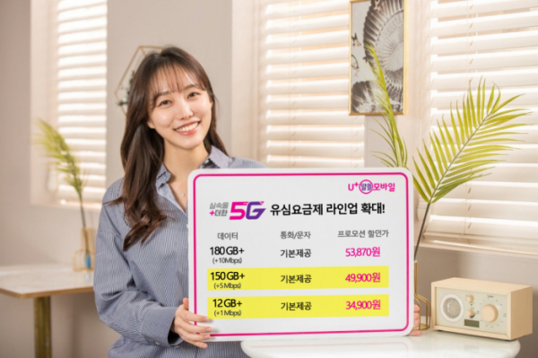 ▲U+알뜰모바일 관계자가 5G 요금제 출시를 홍보하고 있다. (사진제공=U알뜰모바일)
