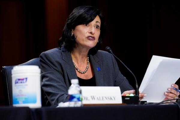 ▲로셸 월렌스키 미국 질병통제예방센터(CDC) 국장이 지난달 18일 상원에 출석해 증언을 하고 있다. 워싱턴/로이터연합뉴스