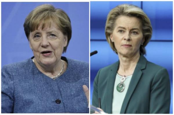 ▲앙겔라 메르켈(왼쪽) 독일 총리와 우르줄라 폰데어라이엔 EU 집행위원장. AP뉴시스