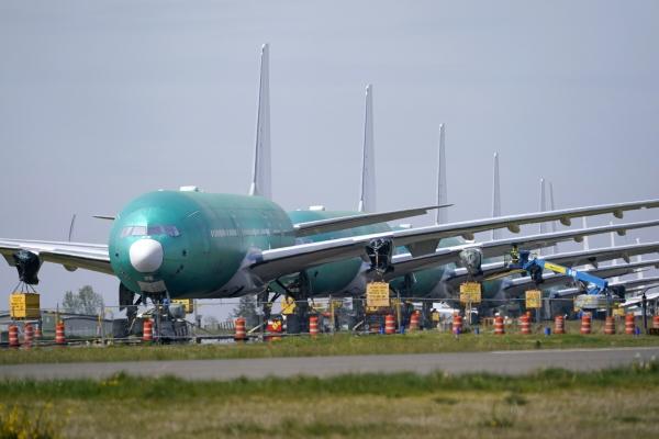 ▲지난달 23일 미국 워싱턴주 보잉 에버렛 공장에서 보잉 777X의 모습이 보인다. 에버렛/AP연합뉴스