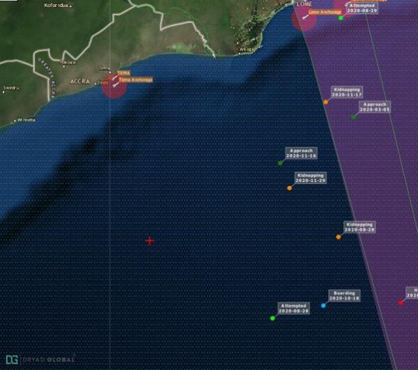 ▲드라이어드글로벌이 공개한 어선 피랍 위치(왼쪽 빨간 원). 출처 드라이어드글로벌 홈페이지