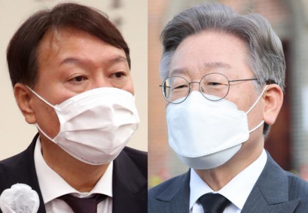 ▲윤석열 전 검찰총장(왼쪽)과 이재명 경기지사. (연합뉴스)