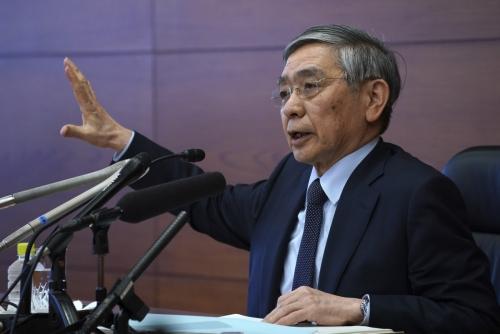 ▲일본 중앙은행인 일본은행의 구로다 하루히코 총재가 지난해 3월 16일 도쿄에서 기자회견을 하고 있다. 도쿄/AP뉴시스