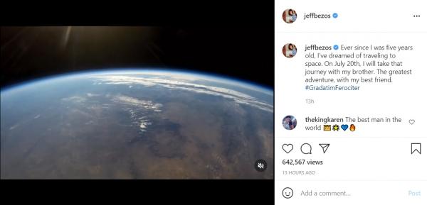 ▲제프 베이조스 아마존 최고경영자(CEO)가 7일(현지시간) 자신의 인스타그램에 우주 여행 소식을 알렸다. 출처 베이조스 인스타그램