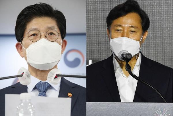 ▲노형욱(왼쪽) 국토부 장관과 오세훈 서울시장 (연합뉴스)