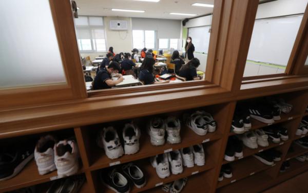 ▲등교 수업받는 학생들. (연합뉴스)