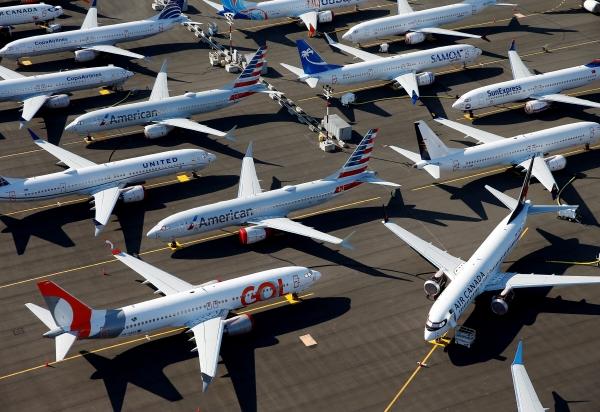 ▲보잉737맥스 항공기가 미국 워싱턴주 시애틀에 위치한 보잉필드에 세워져 있다. 시애틀/로이터연합뉴스