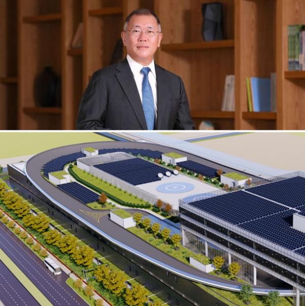 ▲정의선 회장은 올해 1월 싱가포르 현지에 날아가 건설 중인 글로벌 혁신센터(사진 아래) 현장을 점검했다. 2022년 말 완공을 목표로 한 센터는 UAM 이착륙장의 실증 설비로 알려져 있다.   (사진제공=현대차그룹)