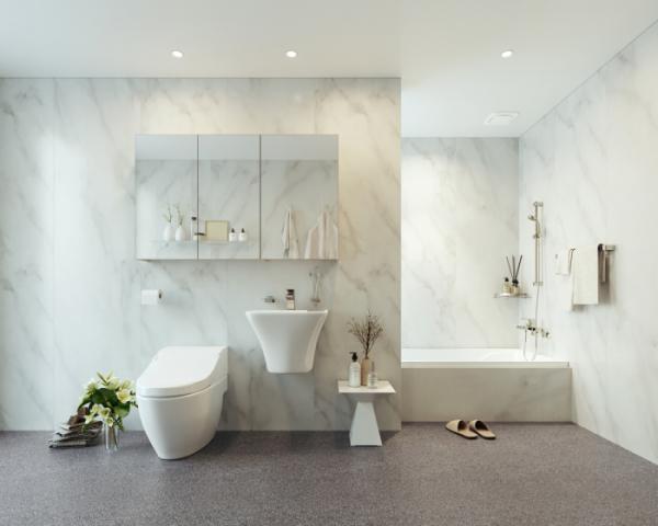 ▲홈씨씨의 이지바스 '비앙코화이트'를 적용한 욕실 모습 (사진제공=KCC)
